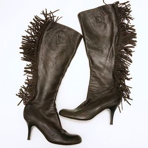 Lanvin Leather Fringe Tall Boots